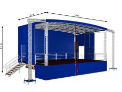 Profiled big mobile stage 10m x 6m x 6,1m